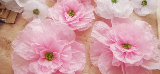 Бумажные цветы из тишью